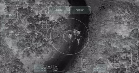 crosshair : Drone with thermal night vision view of terrorist squad walking with weapons