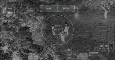 infantry : Drone with thermal night vision camera view of soldiers walking during war