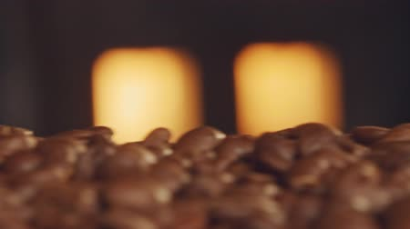 roaster : Roasted coffee beans on a conveyor belt with oven fire in the background Stock Footage