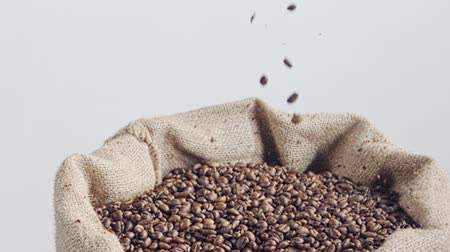 roaster : slow motion of coffee beans falling into a burlap sack