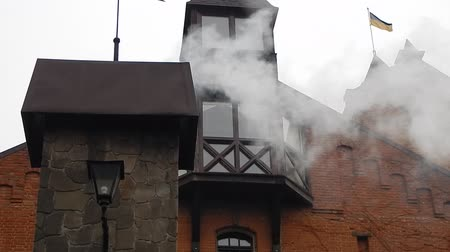 brick factory : Smoke coming out of a chimney in a brick Stock Footage