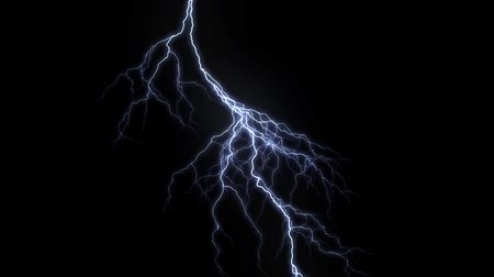 oŚwietlenie : 10 Realistic lightning strikes over black background. Thunderstorm with flashing lightning thunderbolt