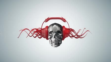 kafatası : Shiny chrome metal skull in red headphones with red abstract wires growing out of them, loopable, alpha matte included, club music concept