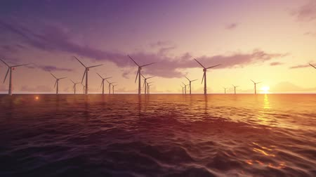 устойчивость : windmill power stations blades spinning in ocean offshore at dusk. 3d rendered footage