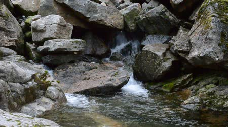 düzgün : beautiful rocky mountain creek with fresh vibrant clear cold water Stok Video
