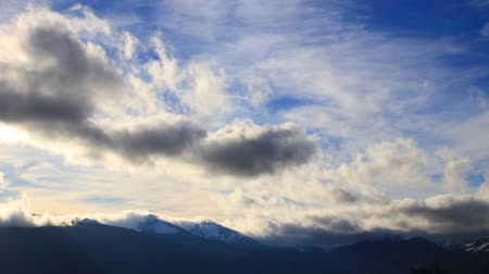 ariege : Pyrenean mountains with moving clouds filmed in timelapse, Occitania in south of France