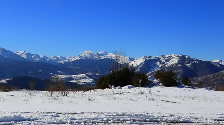 ariege : Snowy mountains in Pyrenees filmed in traveling, Ariege in south of France