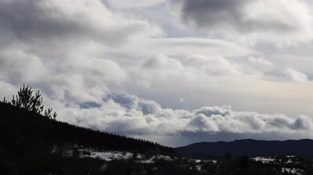 capcir : Dramatic sky over mountains in winter, Capcir in Pyrenees orientales Stock Footage