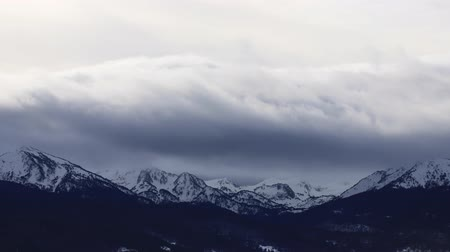 ariege : Pyrenean mountain in winter with dramatic sky, Donezan in southern of France
