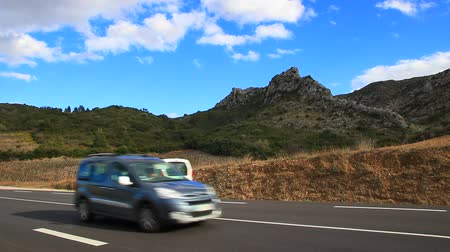 obíhat : car driving on a road in eastern Pyrenees, Fenouilledes in south of France