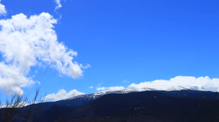 occitania : Time lapse of snowy mountains  in Pyrenees, Aude in southern of France
