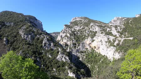 roussillon : Canyon of Galamus in Pyrenees orientales, Corbieres in southern of France Stock Footage