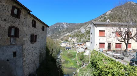 occitania : Pyrenean village of Sainte Colombe sur Guette in Aude, Languedoc in southern of France Stock Footage