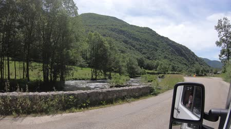 capcir : Pyrenean mountains and road filmed from a car, Orlu valley in Ariege, Midi Pyrenees in southern of France