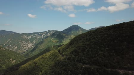 occitania : Aerial view of Pyrenean mountains in Aude filmed with drone, Languedoc in southern of France