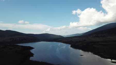 capcir : aerial view of the Pyrenean Lake of Puyvalador in Capcir filmed with drone, Pyrenees orientales in southern of France