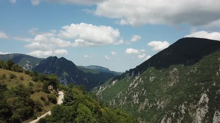 occitania : Aerial view of Pyrenean mountains in Aude, Languedoc in southern of France Stock Footage