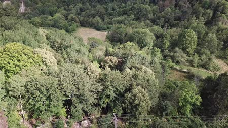 occitania : Aerial view of pyrenean forest filmed with drone, Aude in southern of France