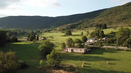 aerial view of french countryside in Pyrenees, Aude in southern of France