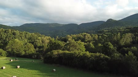 szénaboglya : Aerial view  of haystack on pyrenean field in Aude, Languedoc in southern of France Stock mozgókép