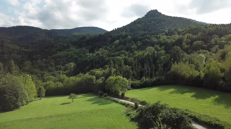 aerial view of path, meadow and forest in Pyrenees, Aude in southern of France