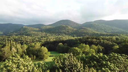 aerial view of meadow and forest in Pyrenees, Aude in southern of France Dostupné videozáznamy