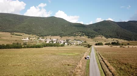 capcir : Aerial view of Pyrenean road in Capcir landscape filmed with drone, Pyrenees orientales  in southern of France