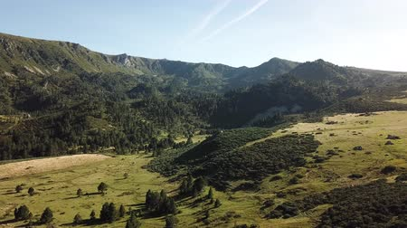 biodiverzitás : aerial view of wild pyrenean mountains and meadow filmed with drone, Aude in the south of France