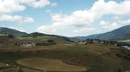 capcir : Aerial view of cultivated field in Capcir filmed with drone, Pyrenees orientales  in southern of France Stock Footage