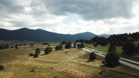 capcir : Aerial view of road in  pyrenean landscape in Capcir filmed with drone, Pyrenees orientales  in southern of France