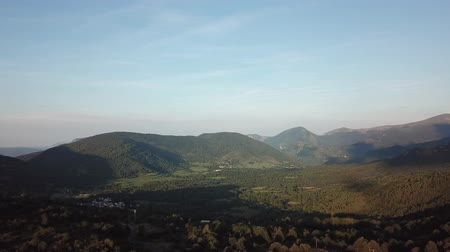aerial view of pyrenean mountains and forest filmed with drone, Aude in the south of France