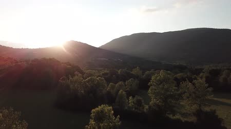 aerial view of forest and shining sun in Pyrenees, Aude in southern of France Stock Footage