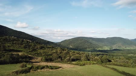 aerial view of meadow and forest in Pyrenees, Aude in the southern of France