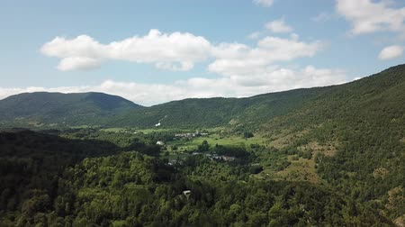 aerial view of french countryside in Pyrenees, Aude in the southern of France Stock Footage