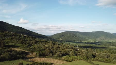 aerial view of french countryside in Pyrenees, Aude in the southern of France Dostupné videozáznamy