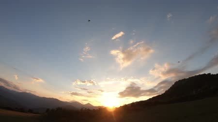 ariege : sunset and pyrenean mountains in Aude, Languedoc in the southern of the france