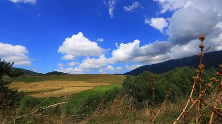 capcir : time lapse of countryside landscape in Capcir with moving cumulus clouds, Pyrenees orientales  in southern of France