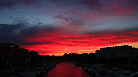 Timelapse of sunset at the port of Gruissan in Aude. Languedoc in the south of France