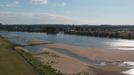 Aerial shot of the Vistula river. River seen from above. D-cinelike file for color grading. Vídeos