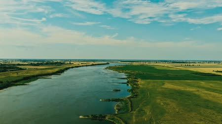 poland : Aerial shot of the Vistula river. River seen from above. Stock Footage