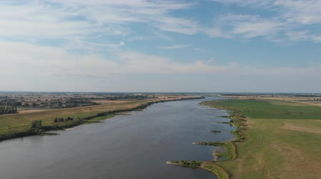 vistula : Aerial shot of the Vistula river. River seen from above. D-cinelike file for color grading. Stock Footage
