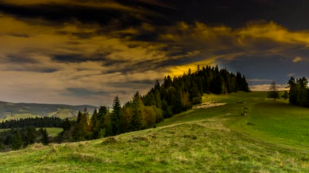 Timelapse clouds over Pieniny mountains.