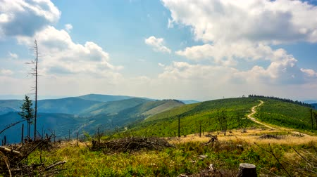 Time lapse - clouds over the Beskid Mountains. Western Carpathians, Poland.