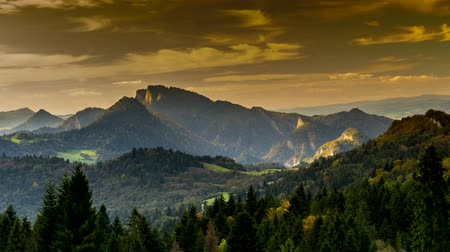 Time lapse - view of the Pieniny Mountains at sunset, Poland.