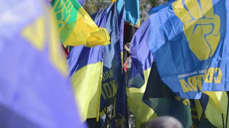político : Kyiv, Ukraine 14 oct 2019. Nationalist activists, supporters of Ukraine protest on Minsk Protocol and Steinmeier Formula