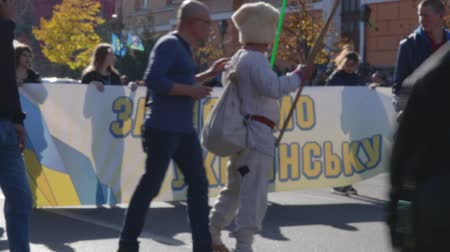 político : Kyiv, Ukraine 14 oct 2019. Old man dressed in cossack clothing on protest against Minsk Protocol and Steinmeier Formula