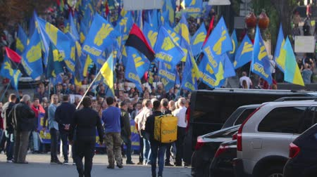 obránce : Kyiv, Ukraine 14 oct 2019. Nationalist activists, supporters of Ukraine protest on Minsk Protocol and Steinmeier Formula