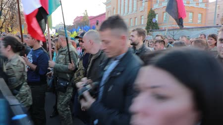 defending : Kyiv, Ukraine 14 oct 2019. Nationalist activists, supporters of Ukraine protest on Minsk Protocol and Steinmeier Formula