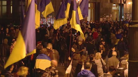 kiev : Kyiv, Ukraine 14 oct 2019. Nationalist activists, supporters of Ukraine protest on Minsk Protocol and Steinmeier Formula