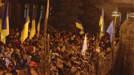 dignité : Kyiv, Ukraine 14 oct 2019. Nationalist activists, supporters of Ukraine protest on Minsk Protocol and Steinmeier Formula